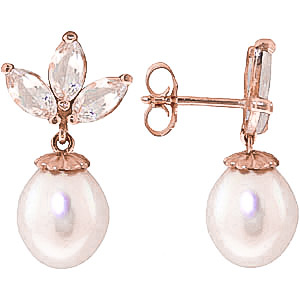 Pearl and White Topaz Petal Drop Earrings 9.5ctw in 9ct Rose Gold