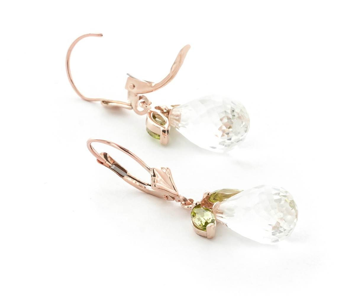 Peridot and White Topaz Drop Earrings 14.4ctw in 9ct Rose Gold
