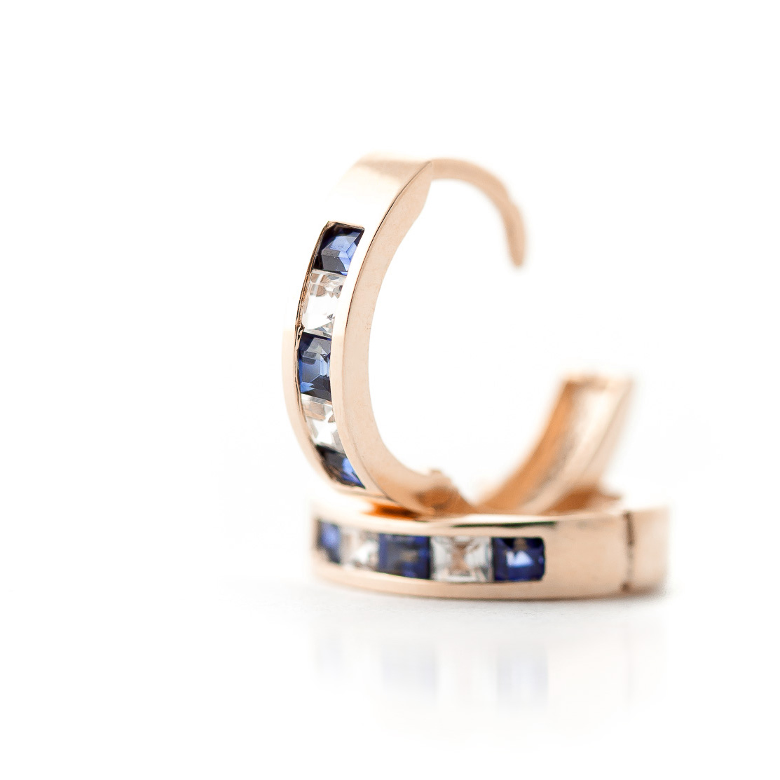 Sapphire and White Topaz Huggie Earrings 1.26ctw in 9ct Rose Gold