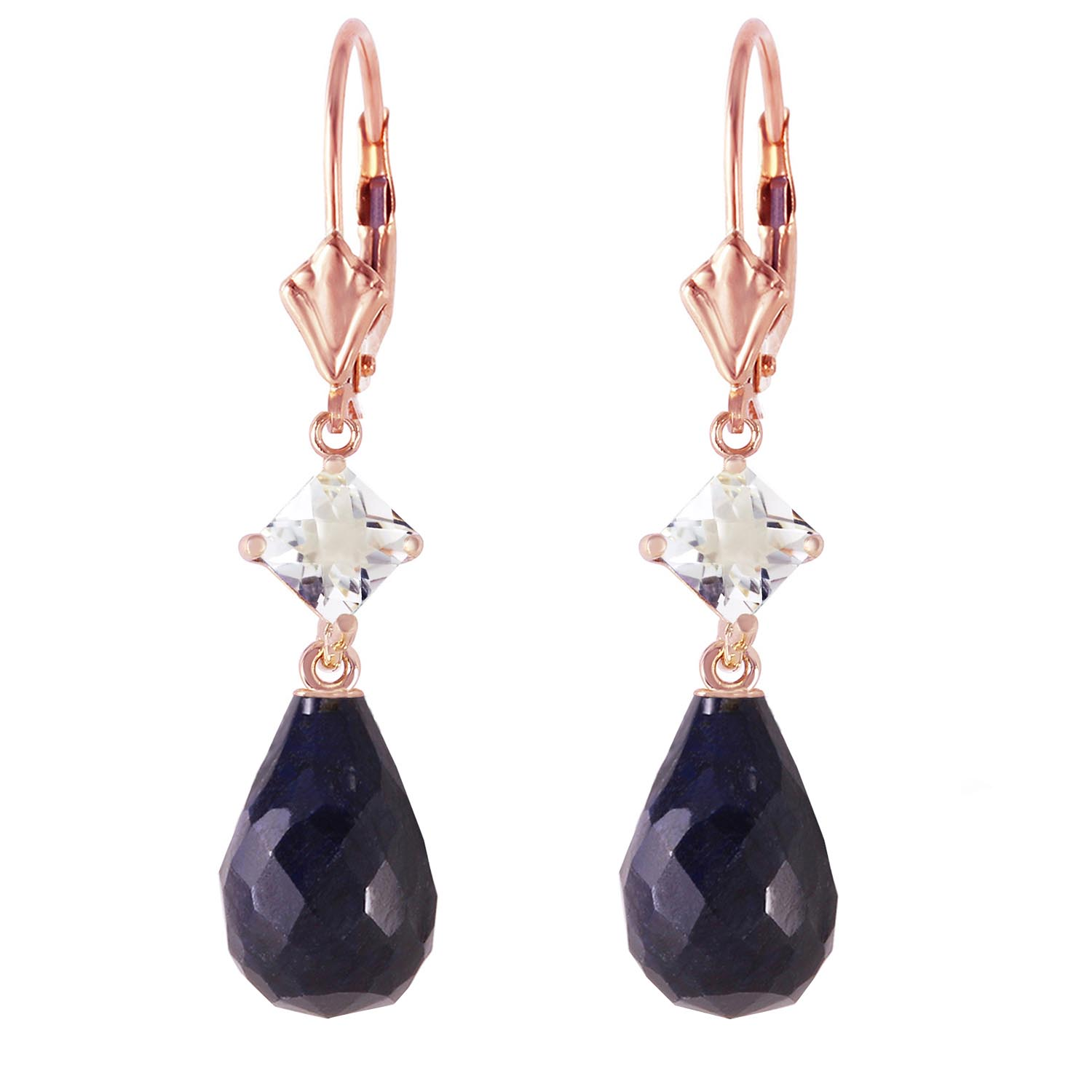 Sapphire and White Topaz Drop Earrings 18.6ctw in 9ct Rose Gold
