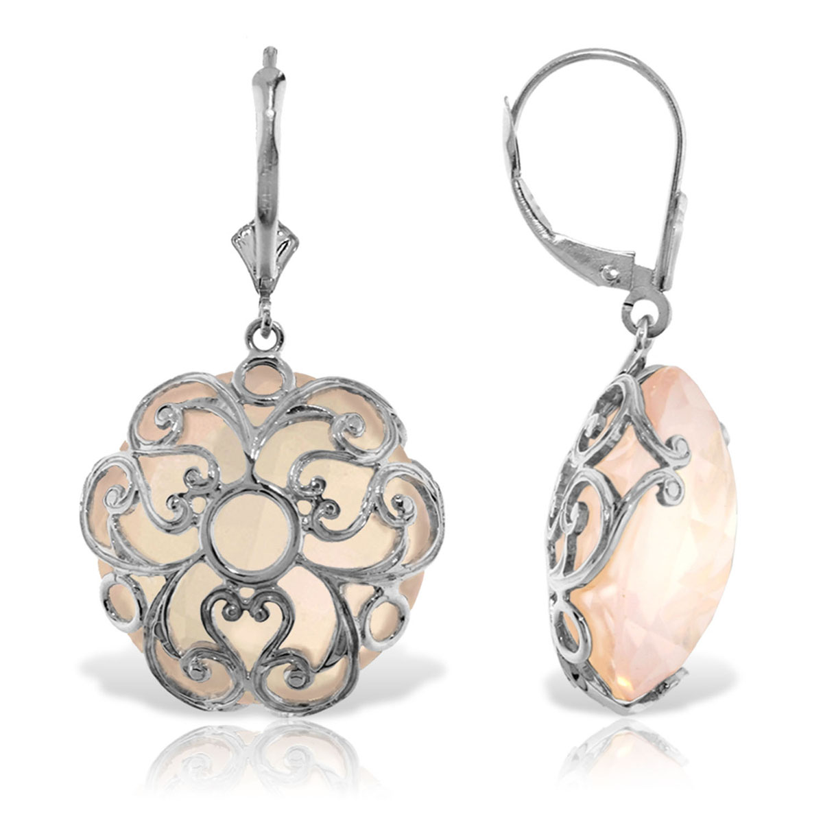Rose Quartz Chequer Earrings 34 ctw in 9ct White Gold
