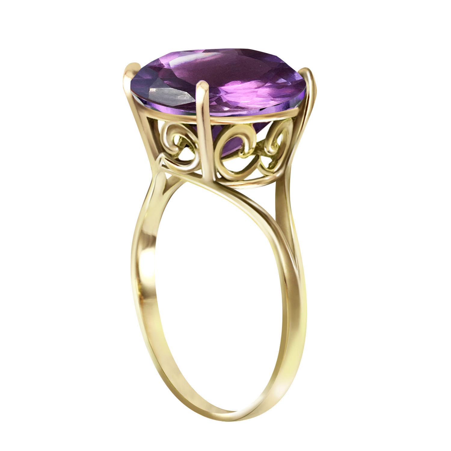 Round Cut Amethyst Ring 5.5 ct in 9ct Gold