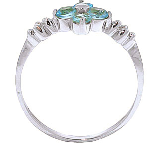 Round Cut Blue Topaz Ring 0.58 ctw in Sterling Silver