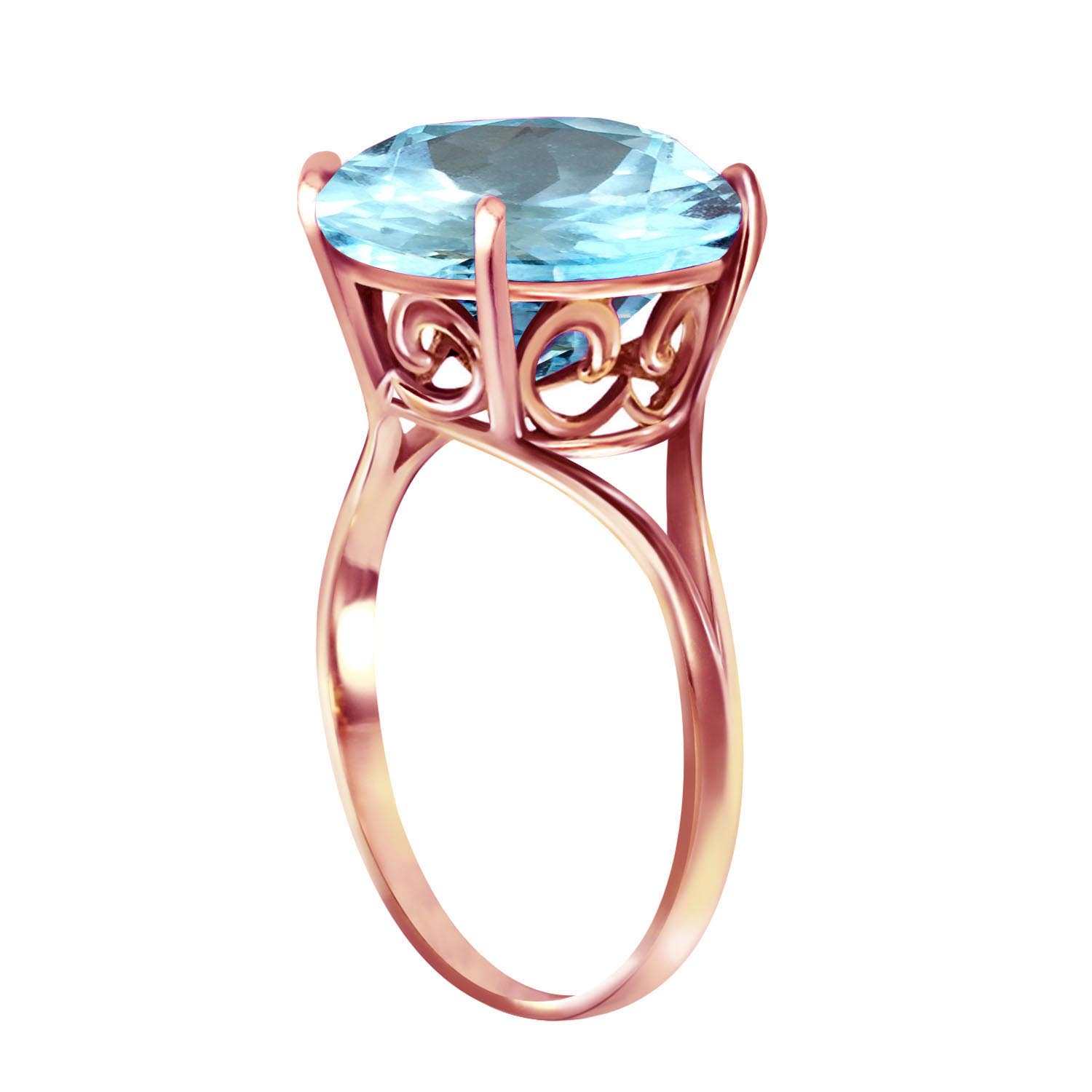 Round Cut Blue Topaz Ring 8 ct in 9ct Rose Gold
