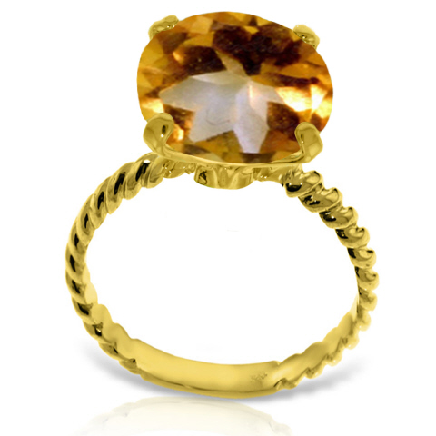 Round Cut Citrine Ring 5.5 ct in 9ct Gold