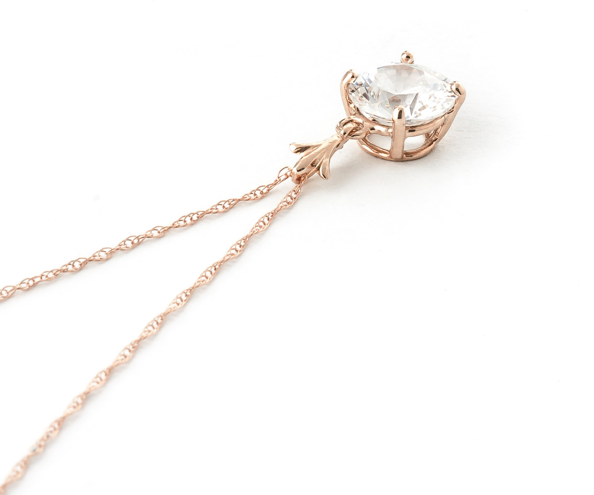Round Cut Cubic Zirconia Pendant Necklace 2.38 ct in 9ct Rose Gold