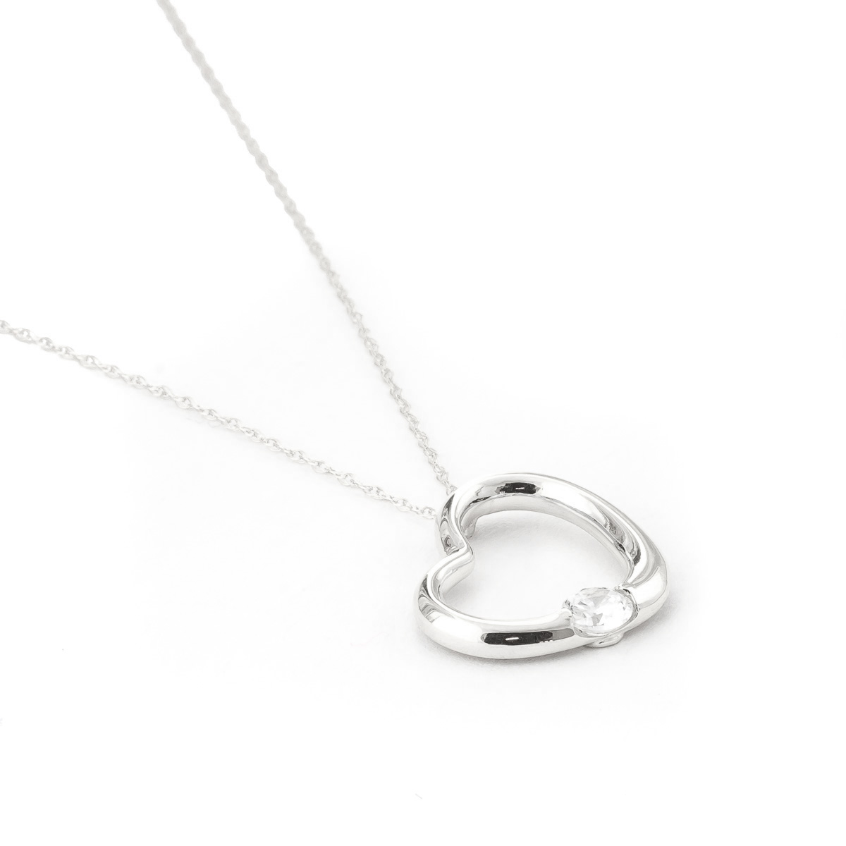 Round Cut Diamond Pendant Necklace 0.25 ct in 9ct White Gold