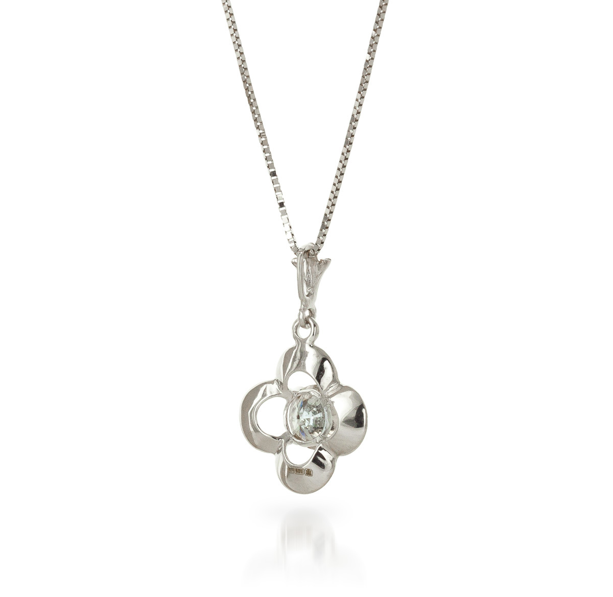 Round Cut Diamond Pendant Necklace 0.5 ct in 9ct White Gold