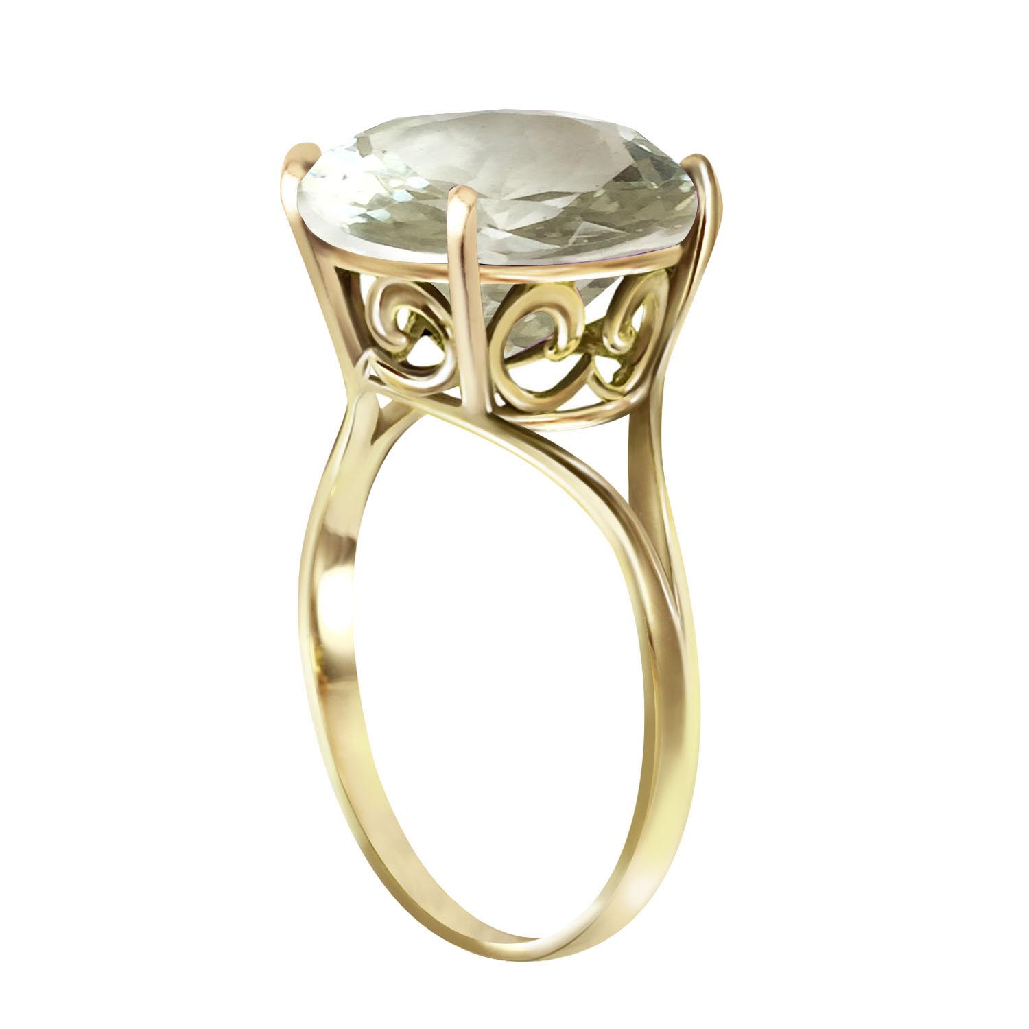 Round Cut Green Amethyst Ring 5.5 ct in 9ct Gold