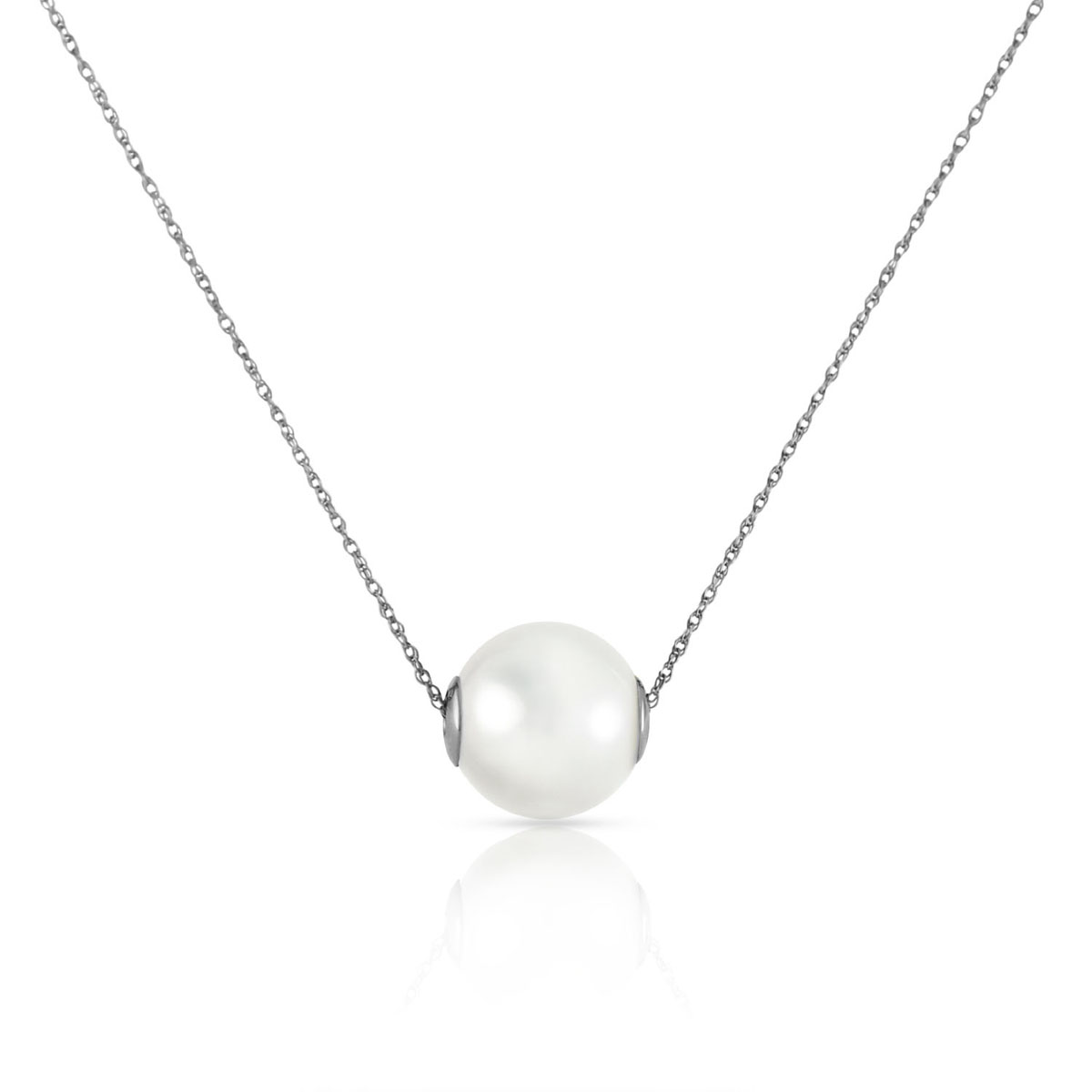 Round Cut Pearl Pendant Necklace 31.25 ct in 9ct White Gold