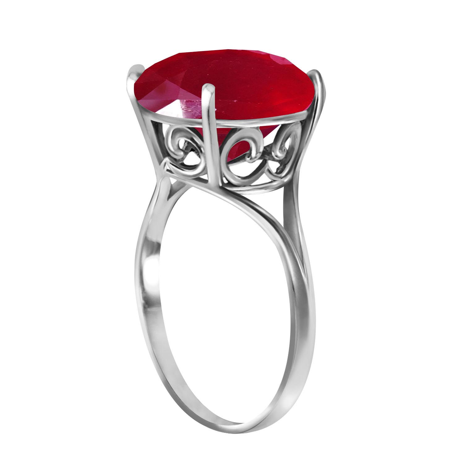 Round Cut Ruby Ring 8.5 ct in Sterling Silver