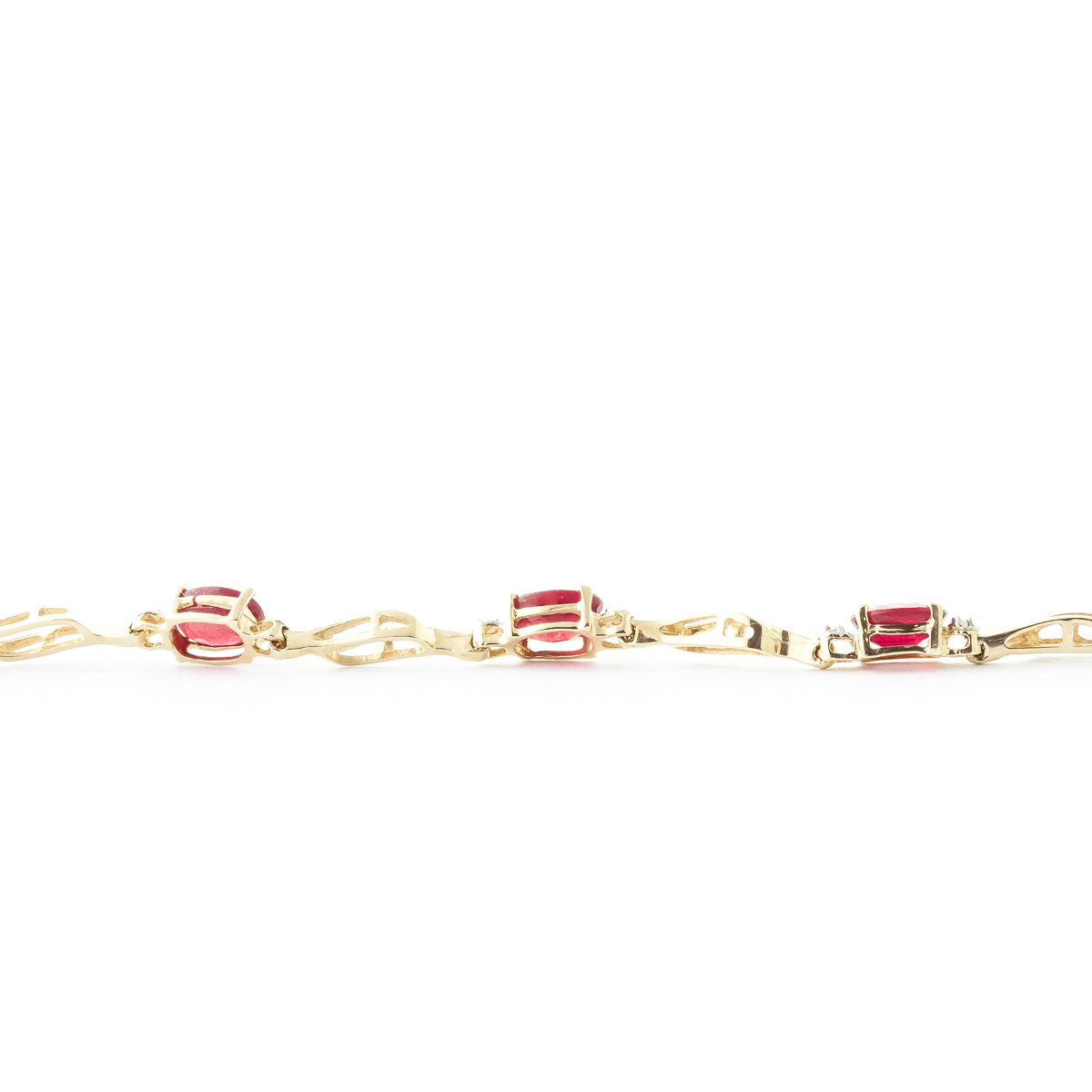 Ruby & Diamond Classic Tennis Bracelet in 9ct Gold
