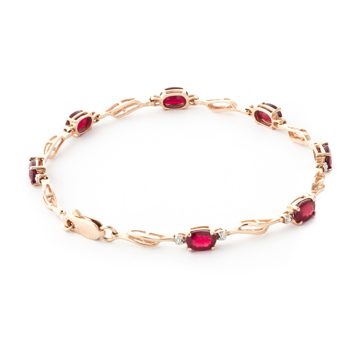 Ruby & Diamond Classic Tennis Bracelet in 9ct Rose Gold
