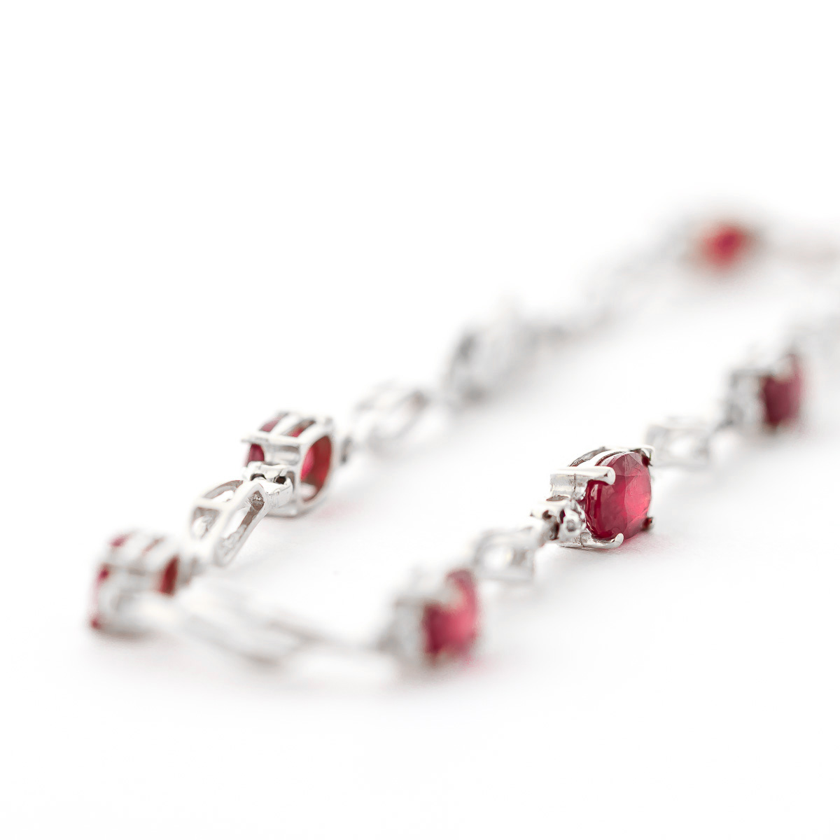 Ruby & Diamond Classic Tennis Bracelet in 9ct White Gold
