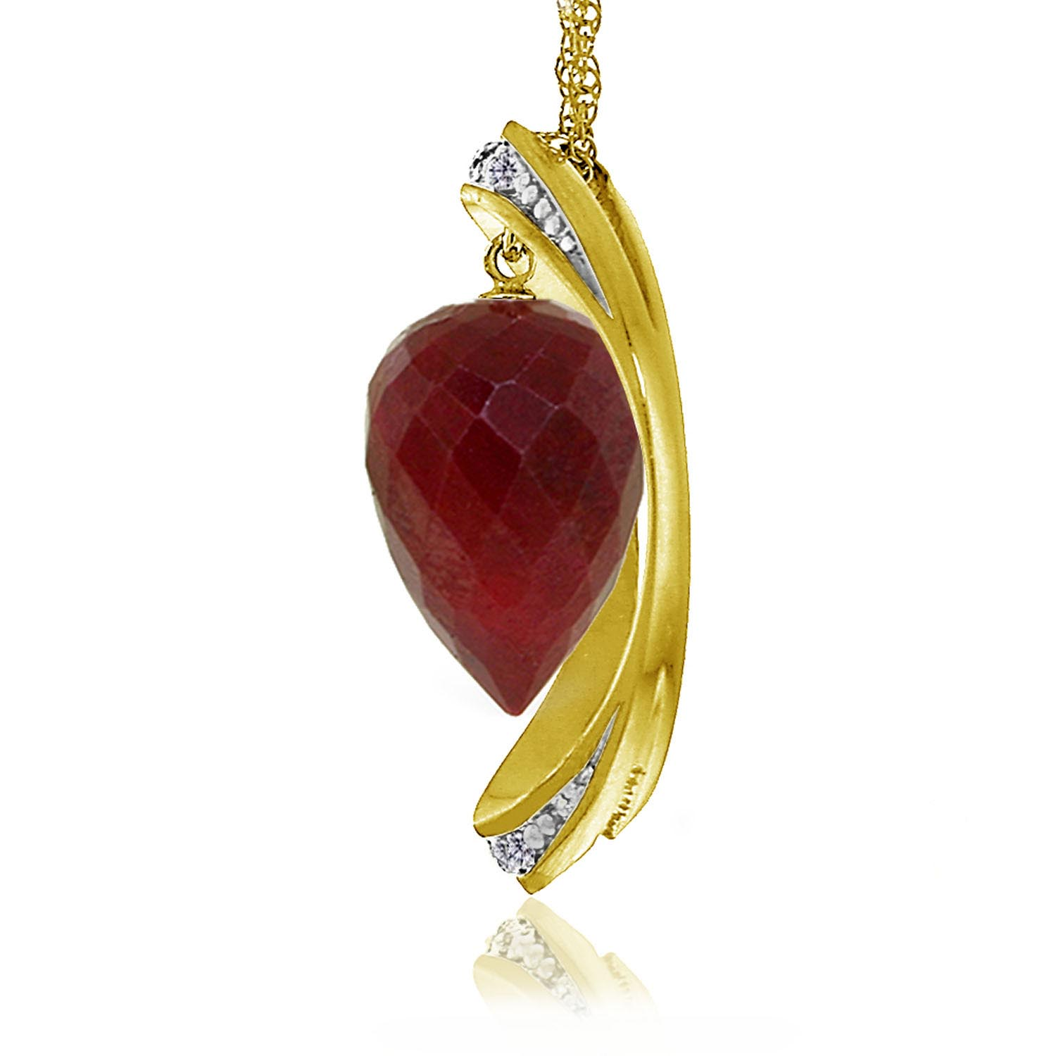 Ruby & Diamond Drop Pendant Necklace in 9ct Gold