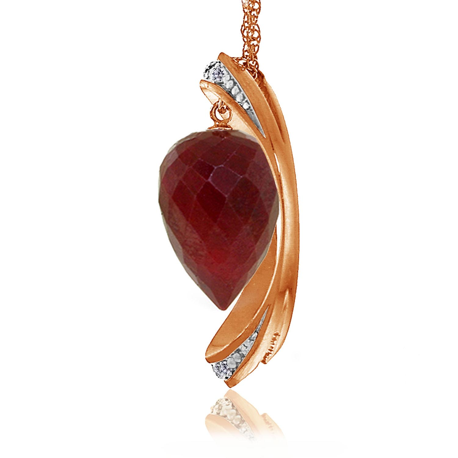 Ruby & Diamond Drop Pendant Necklace in 9ct Rose Gold