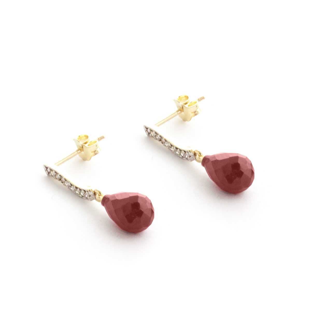 Ruby & Diamond Droplet Earrings in 9ct Gold