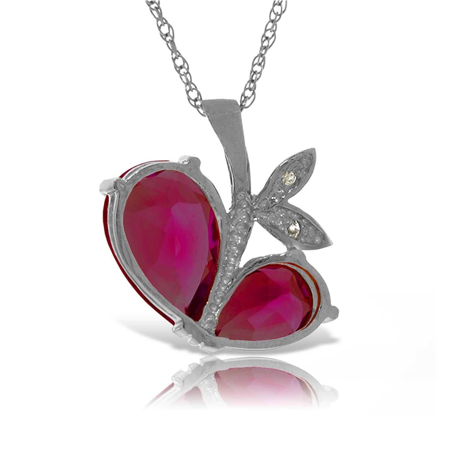 Ruby & Diamond Eternal Pendant Necklace in 9ct White Gold