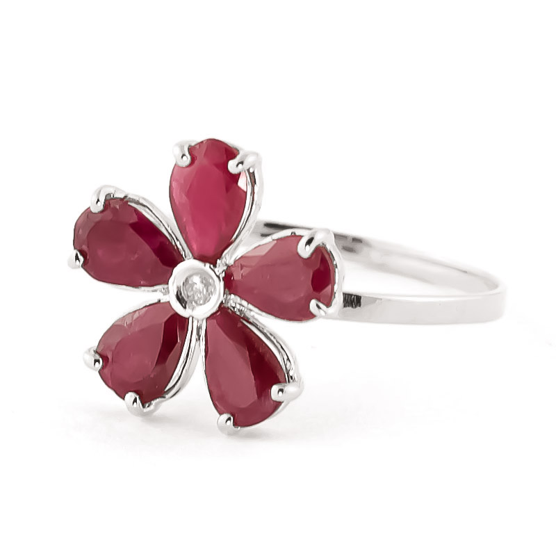 Ruby & Diamond Five Petal Ring in 9ct White Gold