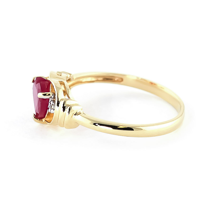 Ruby & Diamond Halo Heart Ring in 9ct Gold
