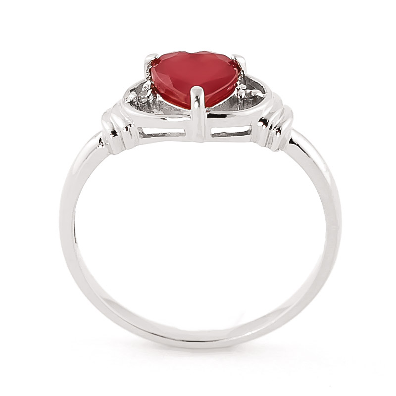 Ruby & Diamond Halo Heart Ring in 9ct White Gold