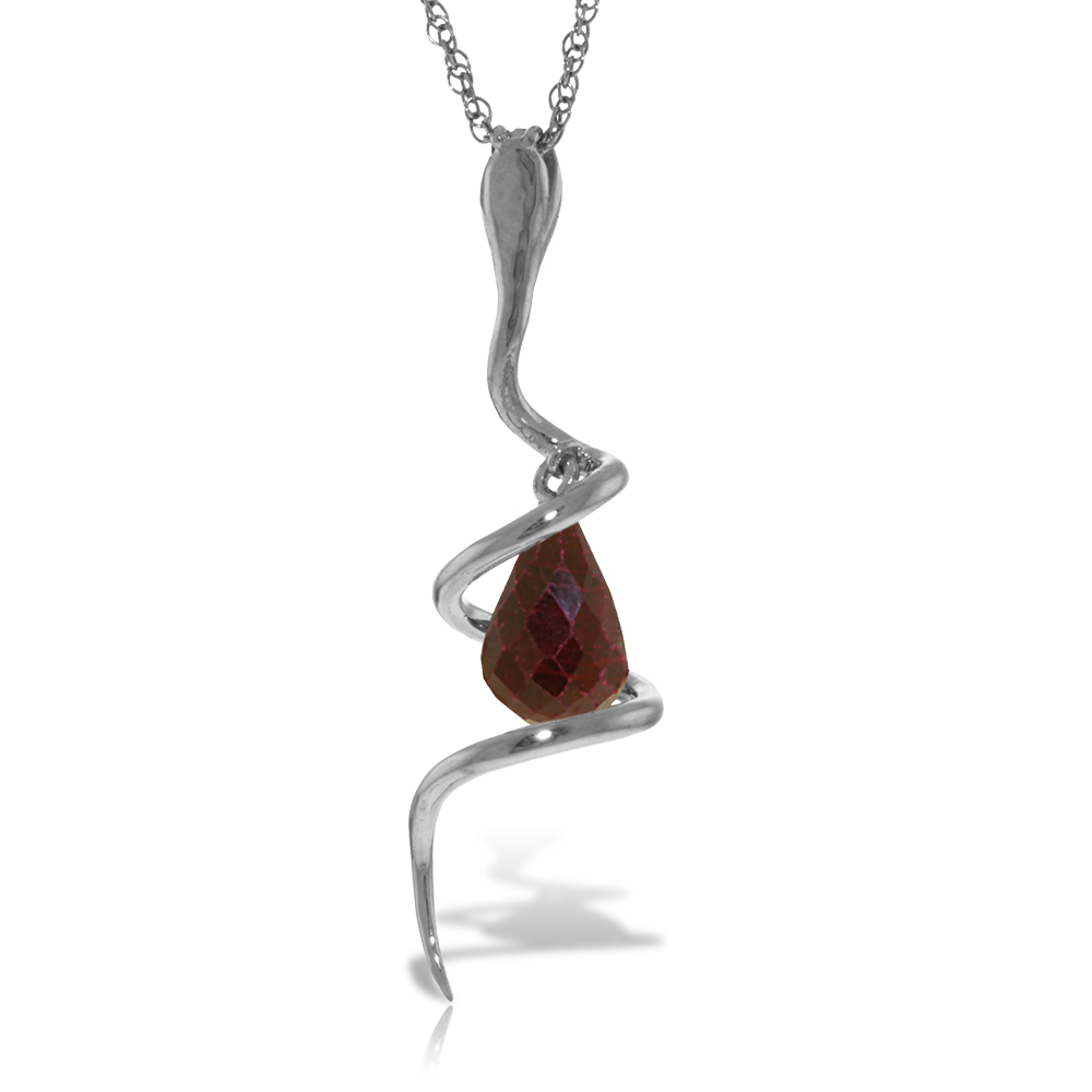 Ruby & Diamond Serpent Pendant Necklace in 9ct White Gold