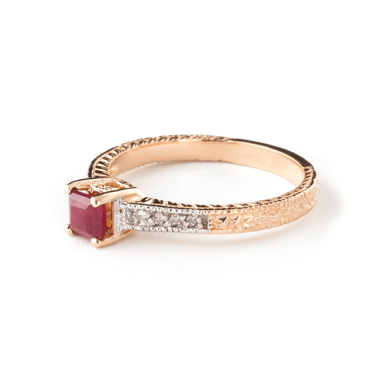 Ruby Diamond Shoulder Set Ring in 9ct Rose Gold 3048R QP Jewellers