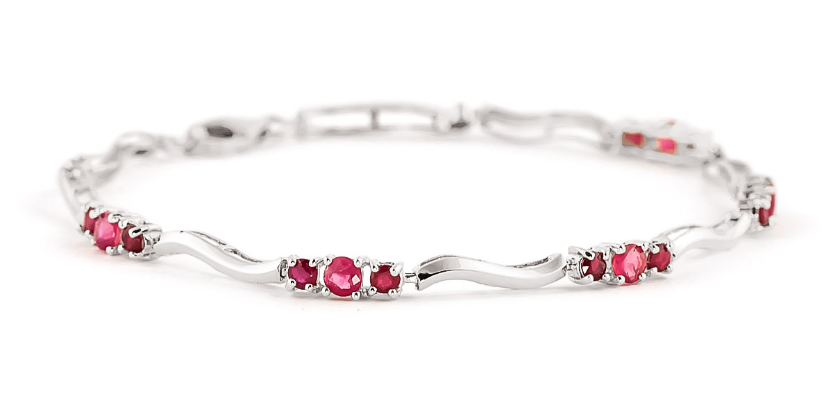 Ruby & Diamond Trinity Tennis Bracelet in 9ct White Gold