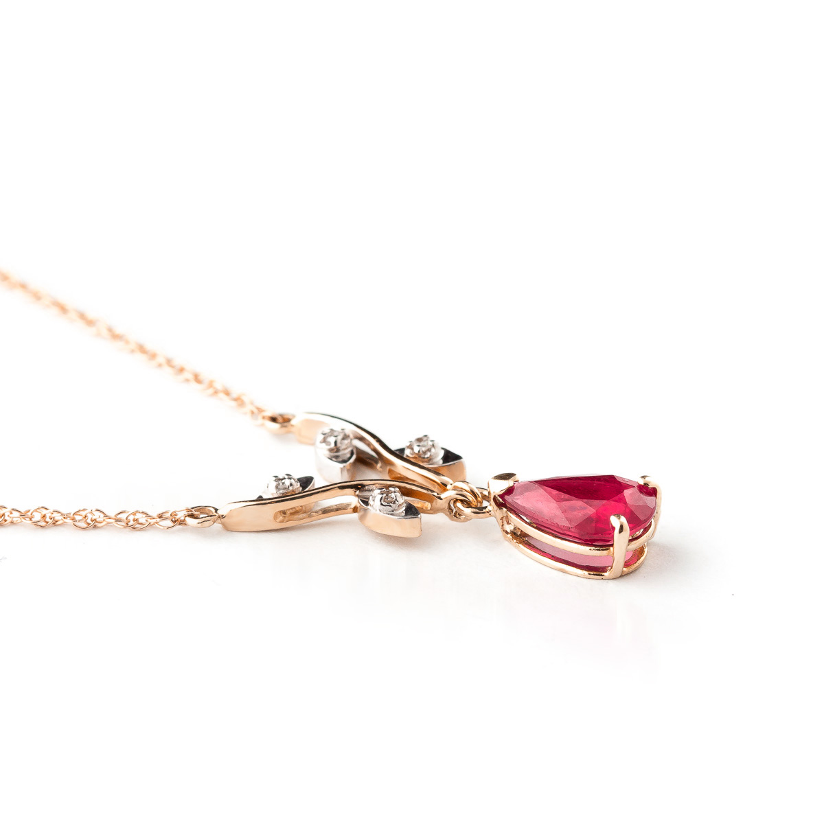 Ruby & Diamond Vine Branch Pendant Necklace in 9ct Rose Gold