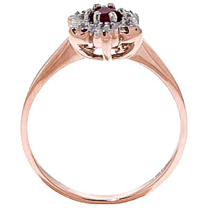 Ruby & Diamond Wildflower Cluster Ring in 9ct Rose Gold