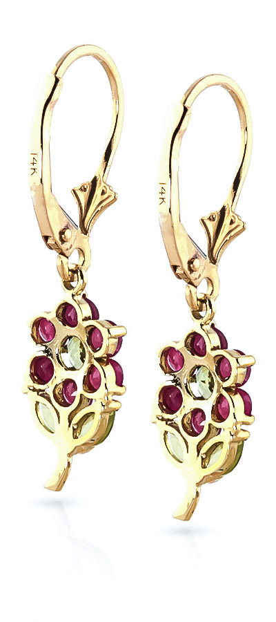 Ruby & Peridot Flower Petal Drop Earrings in 9ct Gold
