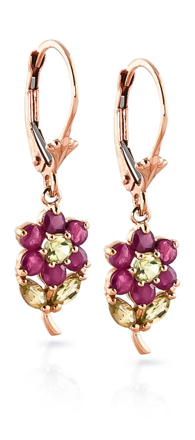 Ruby & Peridot Flower Petal Drop Earrings in 9ct Rose Gold