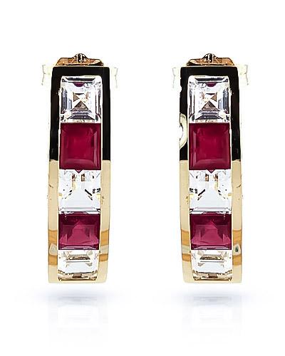 Ruby & White Topaz Channel Set Stud Earrings in 9ct Gold