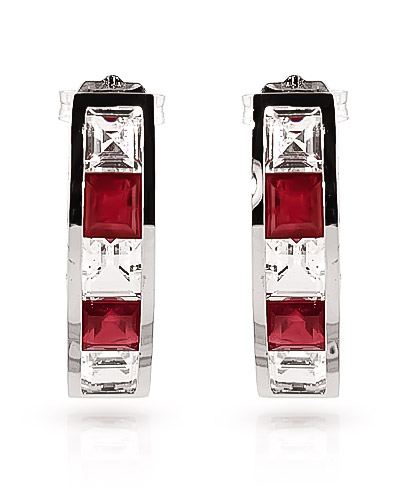 Ruby & White Topaz Channel Set Stud Earrings in 9ct White Gold