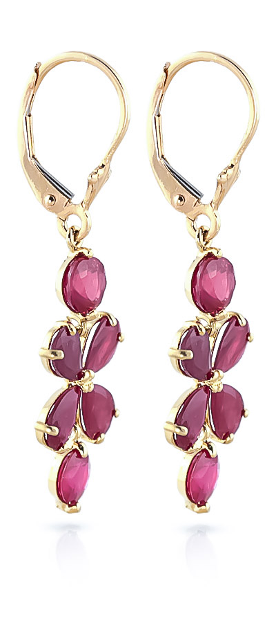 Ruby Blossom Drop Earrings 5.32 ctw in 9ct Gold