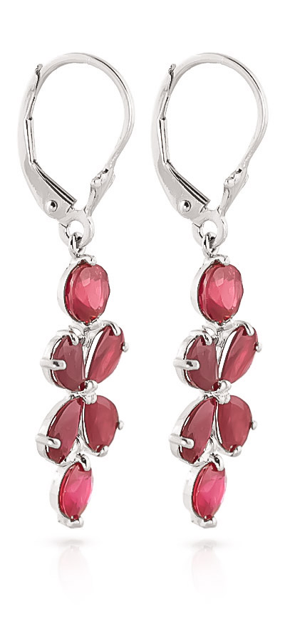 Ruby Blossom Drop Earrings 5.32 ctw in 9ct White Gold