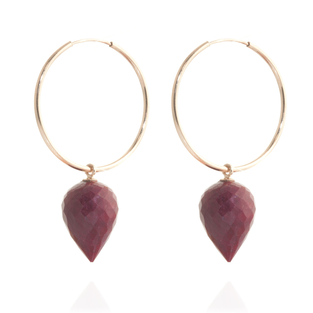 Ruby Briolette Hoop Earrings 26.1 ctw in 9ct Rose Gold