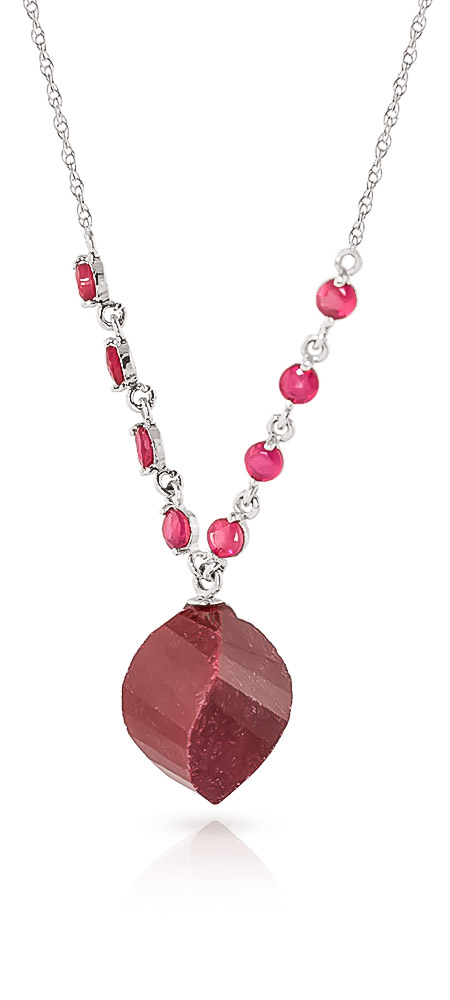 Ruby Briolette Pendant Necklace 16.25 ctw in 9ct White Gold