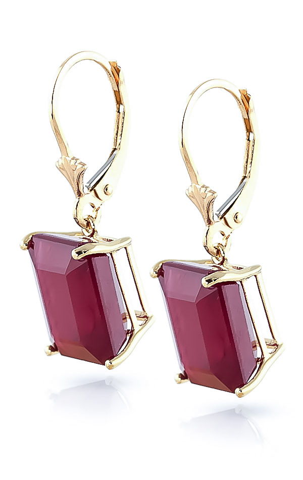 Ruby Drop Earrings 13 ctw in 9ct Gold