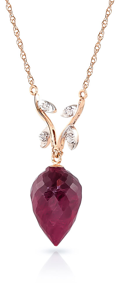 Ruby Drop Pendant Necklace 13.02 ctw in 9ct Rose Gold