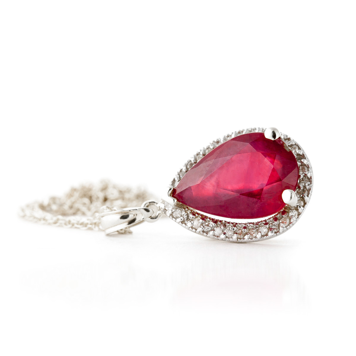 Ruby Halo Pendant Necklace 5.51 ctw in 9ct White Gold