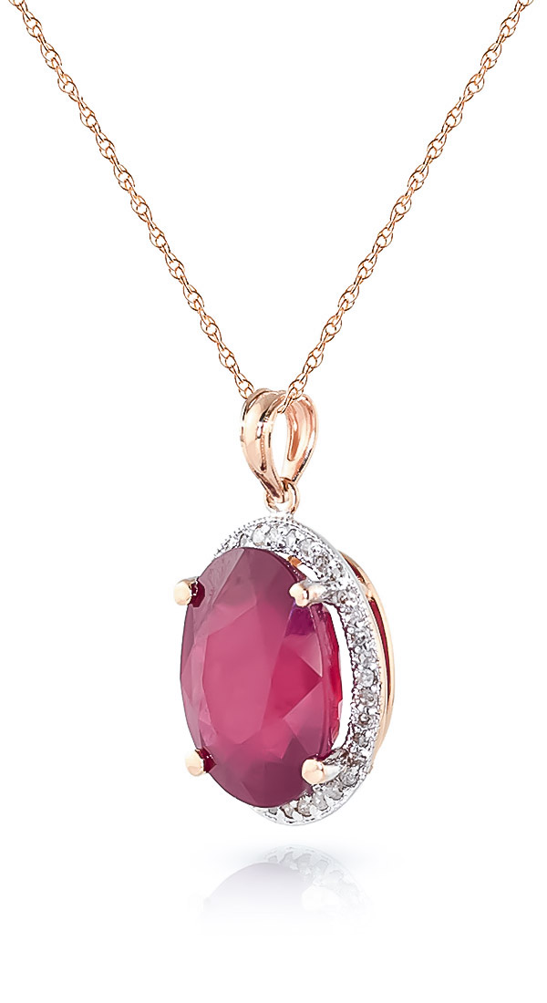 Ruby Halo Pendant Necklace 7.93 ctw in 9ct Rose Gold