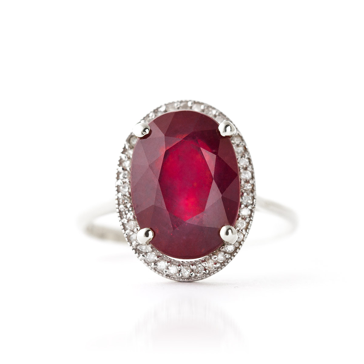 Ruby Halo Ring 7.93 ctw in Sterling Silver