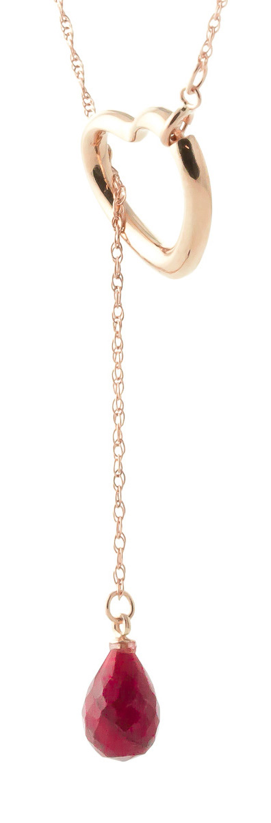 Ruby Heart Drop Pendant Necklace 3.3 ct in 9ct Rose Gold