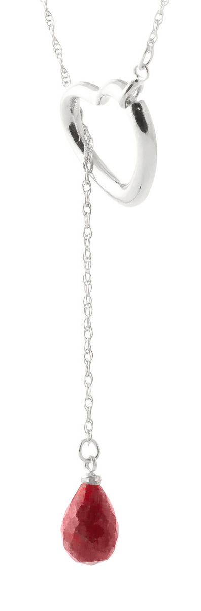 Ruby Heart Drop Pendant Necklace 3.3 ct in 9ct White Gold