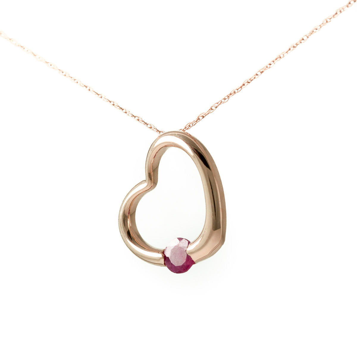 Ruby Heart Pendant Necklace 0.25 ct in 9ct Rose Gold