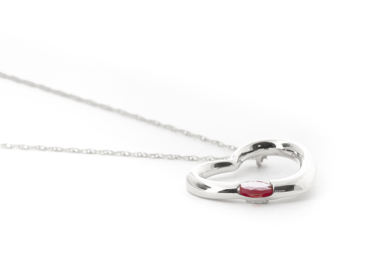 Ruby Heart Pendant Necklace 0.25 ct in 9ct White Gold