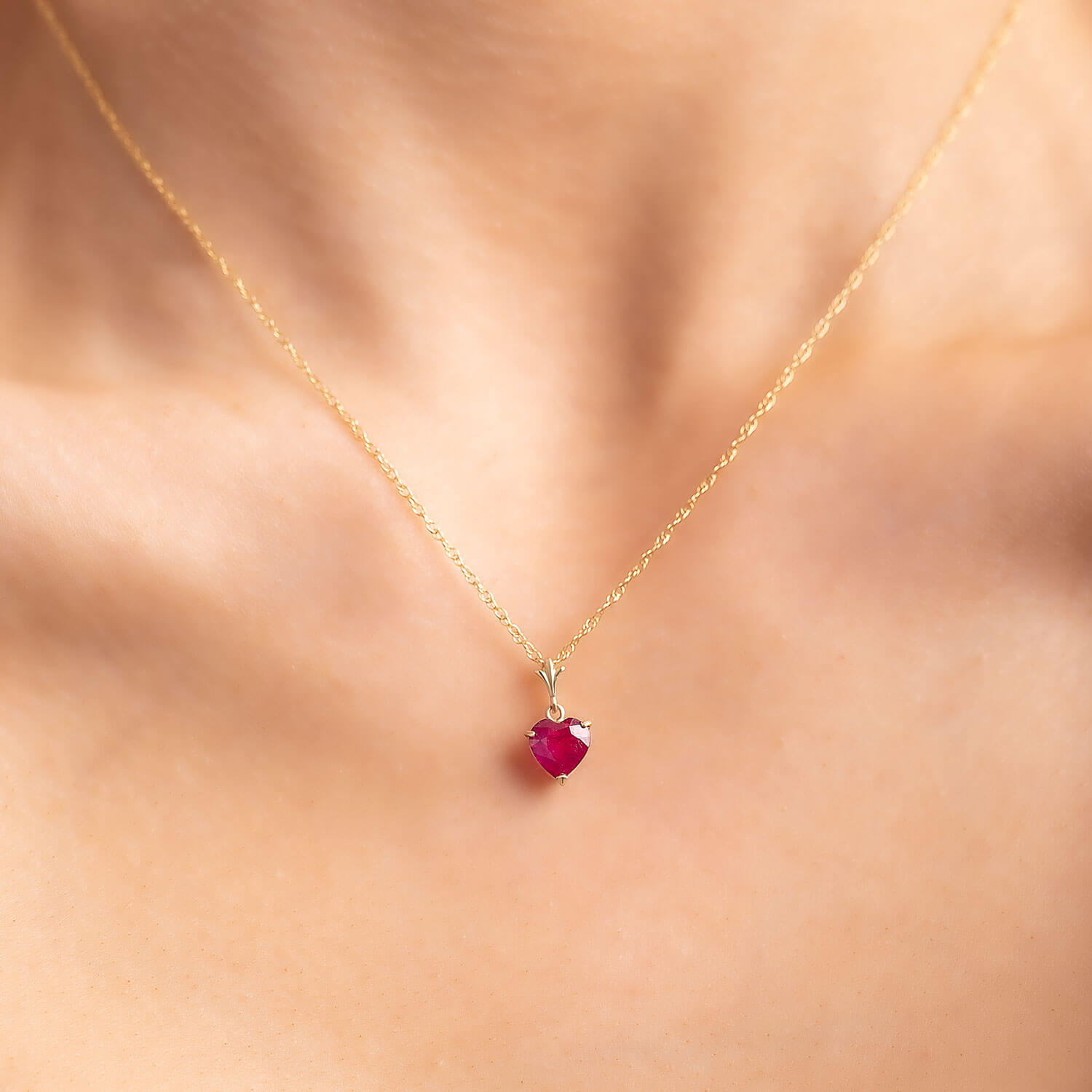 Ruby Heart Pendant Necklace 1.45 ct in 9ct Gold