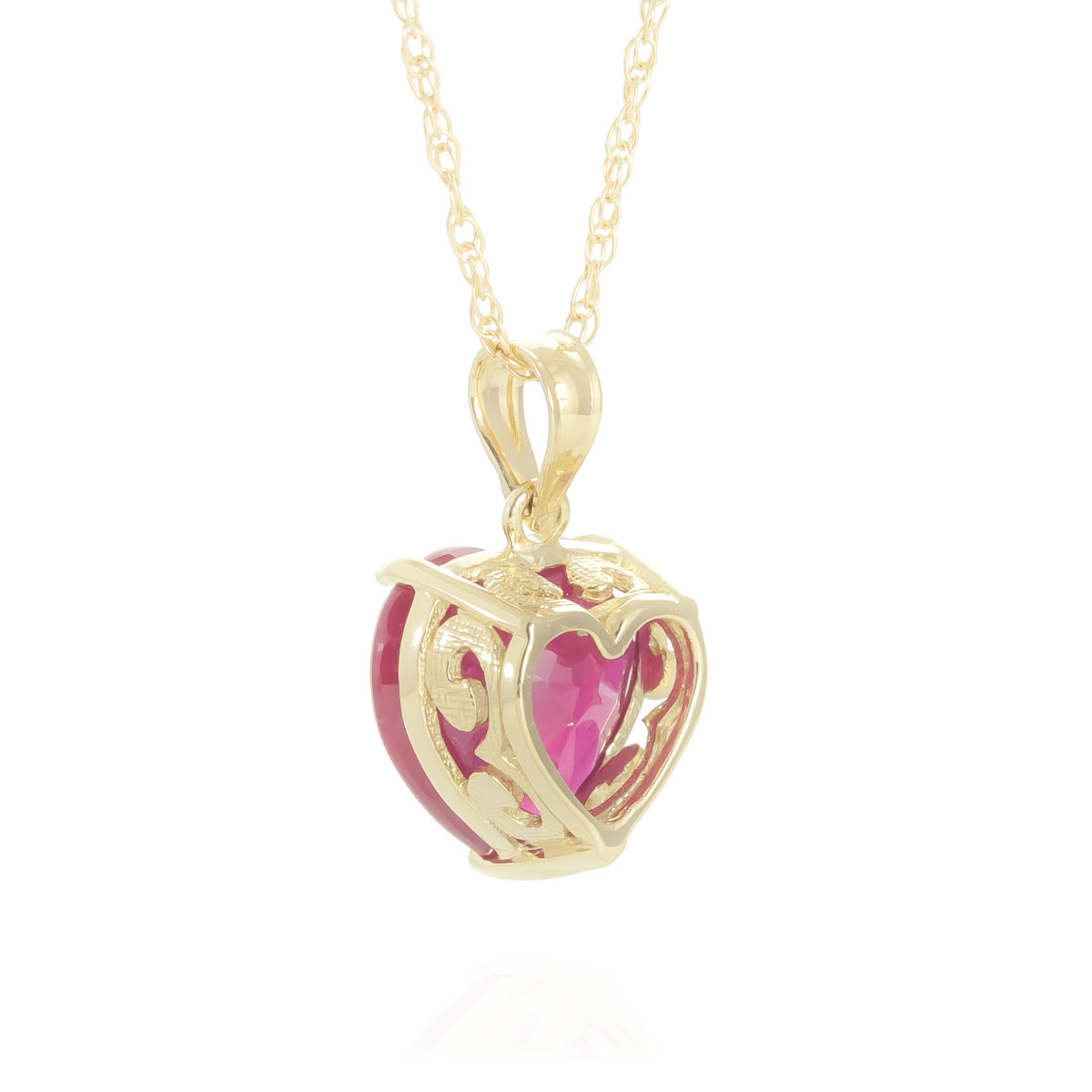 Ruby Large Heart Pendant Necklace 4.3 ct in 9ct Gold