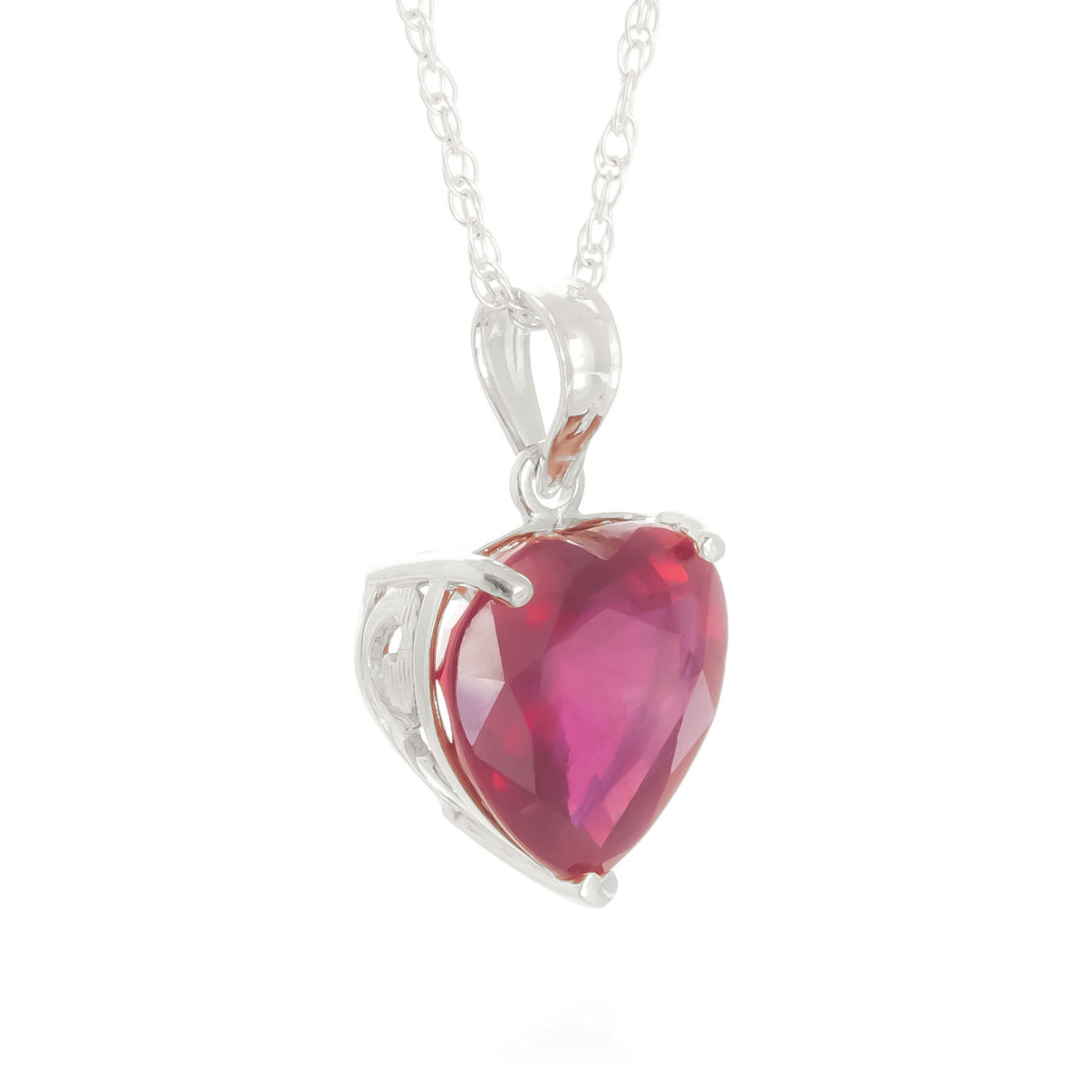 Ruby Large Heart Pendant Necklace 4.3 ct in 9ct White Gold